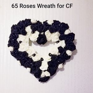 65 Rose Wreath Black and White CYSTIC FIBROSIS